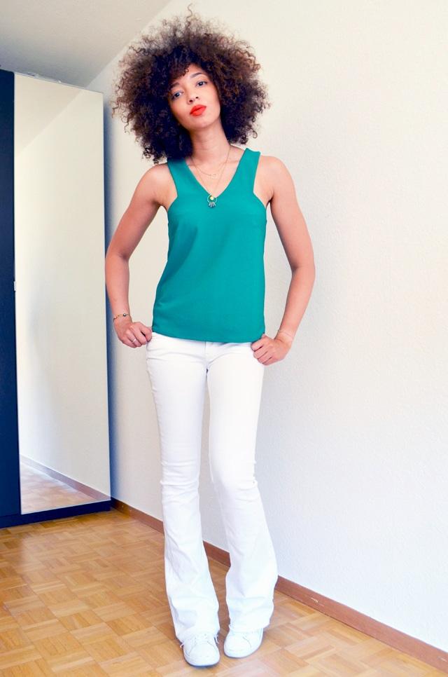 mercredie-blog-mode-top-vert-mango-ceinture-zebre-lipstick-rouge-levres-mac-lady-danger-matte-pantalon-pattes-d-elephant-blanc-zara-stan-smith-adidas2