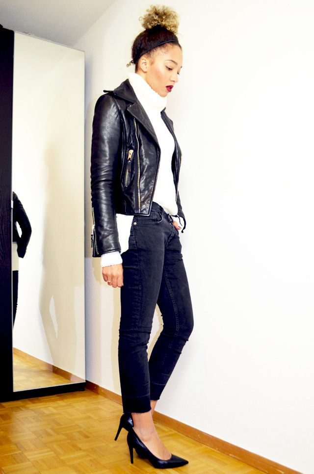 mercredie-blog-mode-geneve-escarpins-eden-python-la-redoute-pull-fashion-bunker-bun-slim-balenciaga-perfecto-leather-jacket-biker