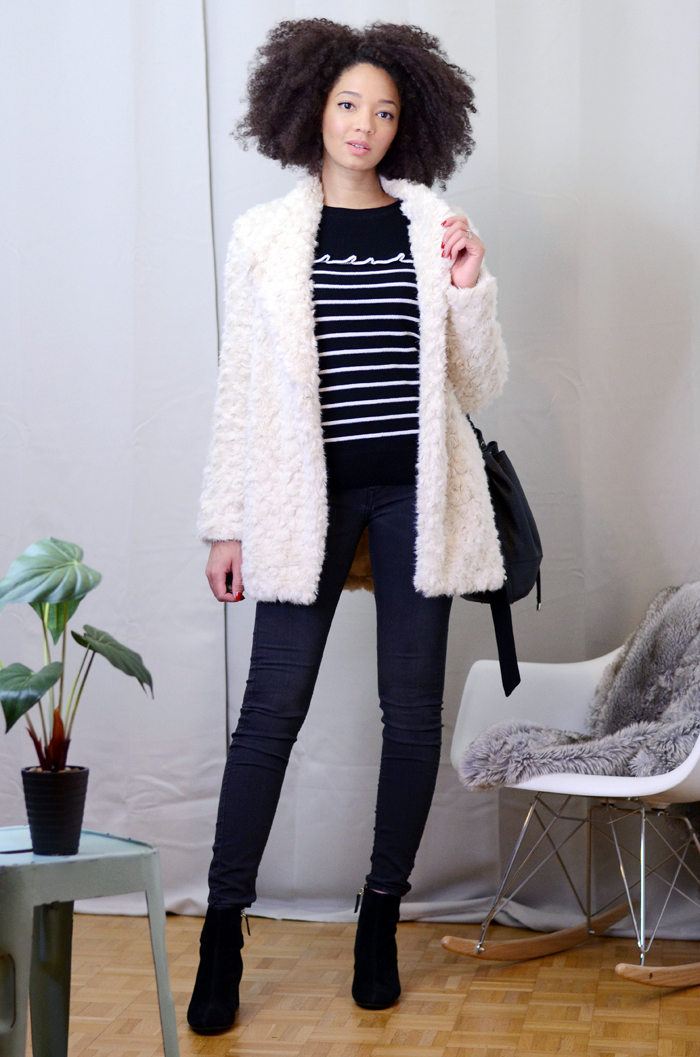 mercredie-blog-mode-soldes-promod-manteau-fausse-fourrure-sac-seau-apc-cheveux-naturels-afro-lacewig-big-beautiful-hair-outre-bottines-talons-pull-and-bear5