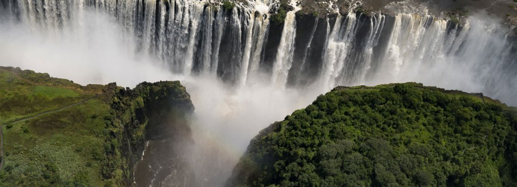 Helicopter view over Victoria Falls
