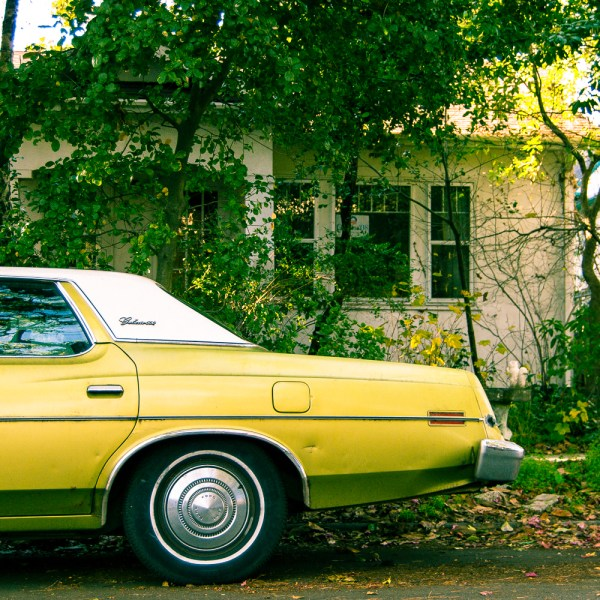 """Chartreuse Ford Galaxie 500 (2009), Chromogenic print mounted on metal, 12 x 12 inches"