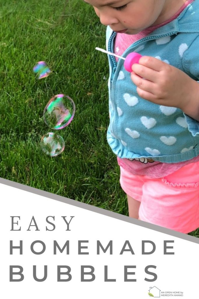 Easy Homemade Bubbles - Simple bubble solution you can make in minutes | MeredithAmand.com