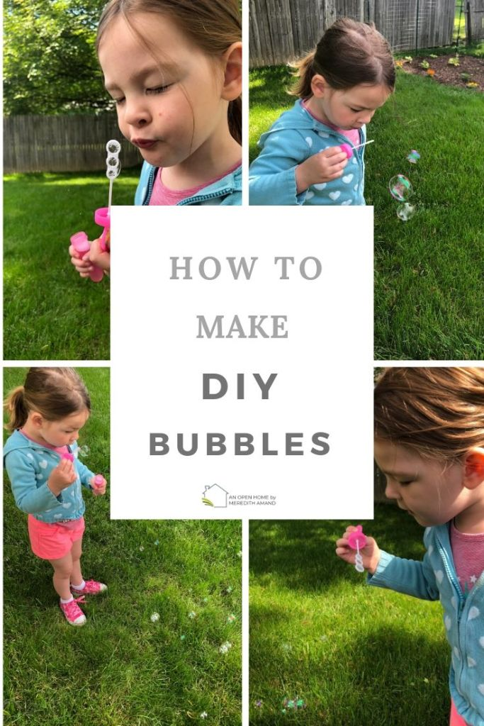 How to Make DIY Bubbles - Summer fun with 3 ingredients you have in your kitchen! | MeredithAmand.com