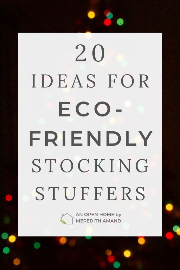 earth friendly stocking stuffers text with tree lights