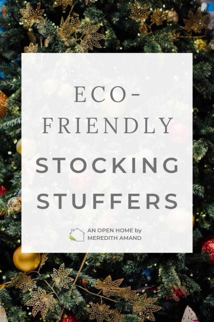 eco-friendly stocking stuffers text with christmas tree