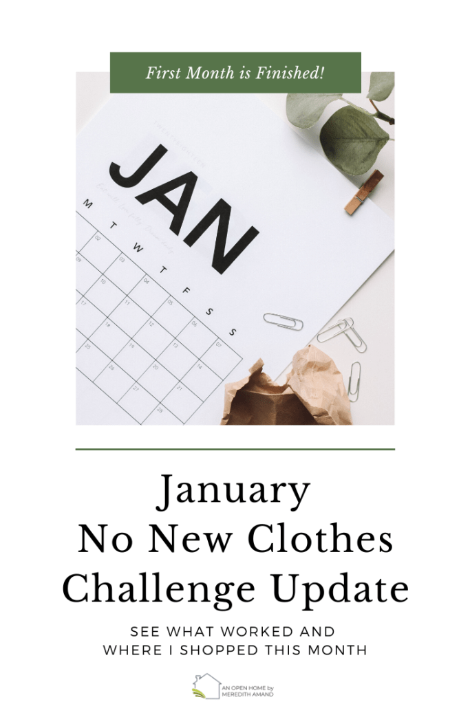 January Calendar for No New Clothes Challenge Update