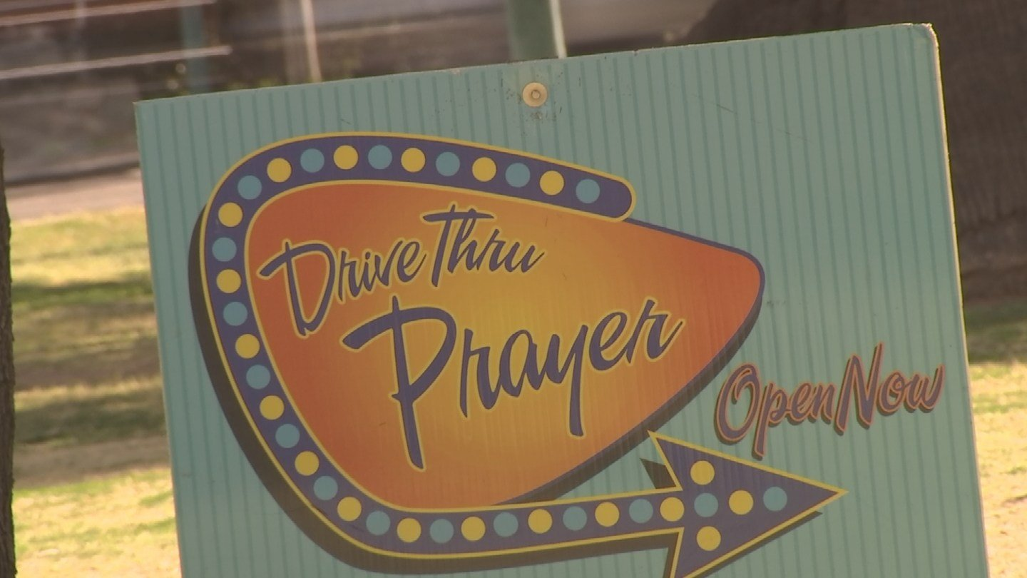 Drive-thru rules, though, are not strictly enforced. They accept walk-ups, even bike-ups. No matter how you get there, they will take your prayer request. (Source: KPHO/KTVK)