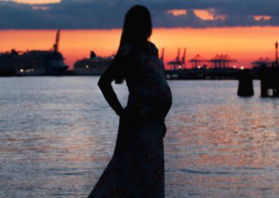 Sunset Maternity Silhouette in Norfolk, VA, maternity photo session