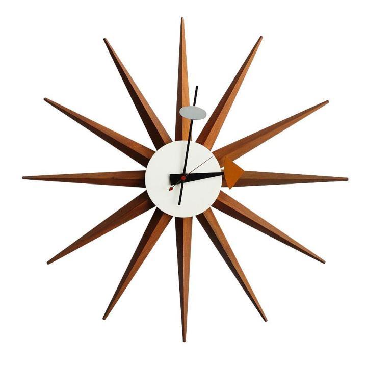 Vintage George Nelson Walnut Spike Wall Clock