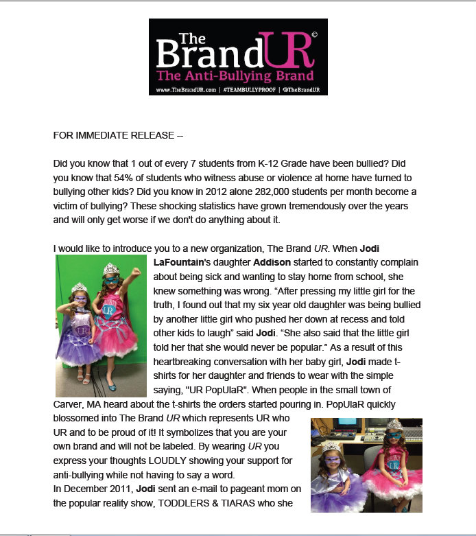 Press Release: Brand UR goes Global with #TEAMBULLYPROOF Meredith Prunty, Ashley Tramonte, Paisley Dickey & Addison LaFountaine (1/4)