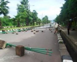 Residents of Bahr Dar city in northern Ethiopia block streets to prevent movement of government  ...