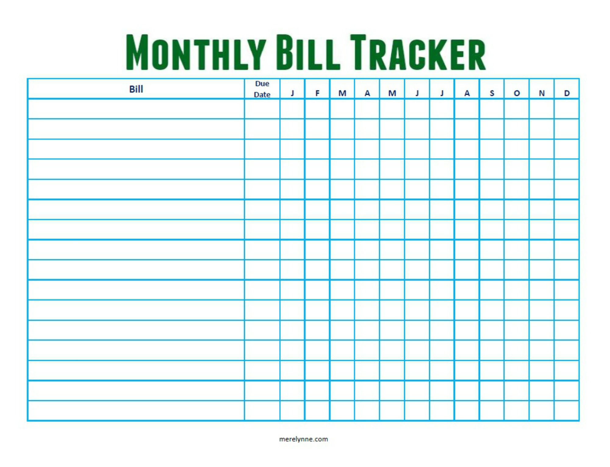 Monthly Bill Tracker From Merelynne