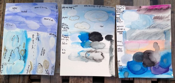 learning and documenting techniques for clouds | watercolor paint and crayons, wax pastels | all 9x12