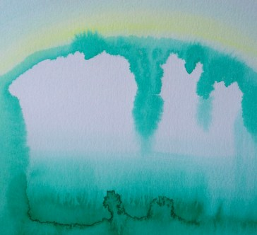 green geode cave | watercolor | 9x12