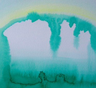 green geode cave   watercolor   9x12