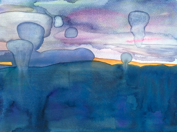 Mushroom Clouds   watercolor and gouache   11x15