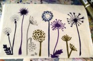 Canvas tote with dandelions.