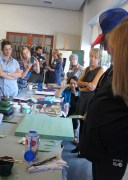 Everyone watching as Julian took a palette knife to someone's painting.