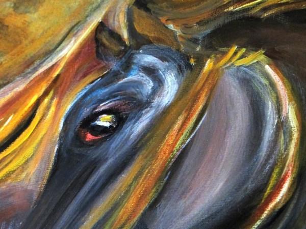 Deux chevaux bais détail