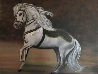Peinture cheval blanc au titre de Crin Blanc