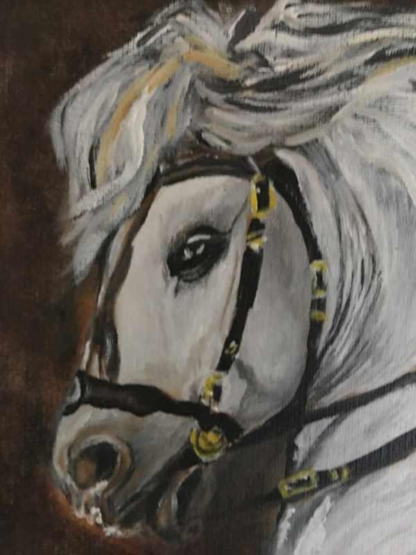 Peinture cheval blanc détail - Crin Blanc