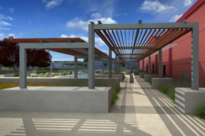 landscape rendering of trellis walkway at Sonoma County winery