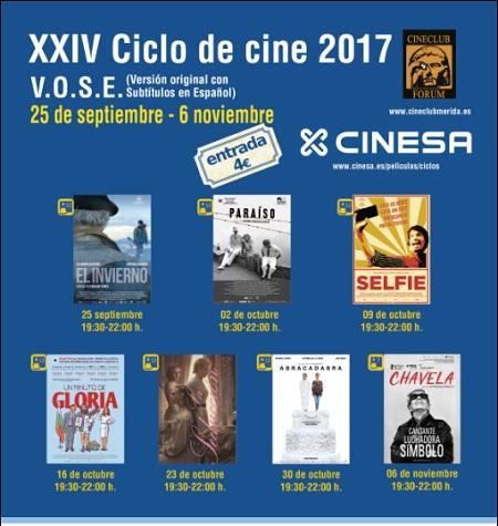 """Del 25 de septiembre al 6 de noviembre """"XXIV ciclo de cine en V. O."""", que organiza el cine club Forum"""