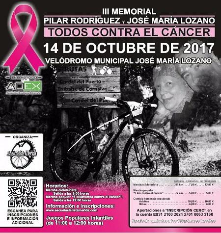 """El próximo 14 de octubre se celebra el III Memorial de ciclismo """"Pilar Rodríguez y José María Lozano"""