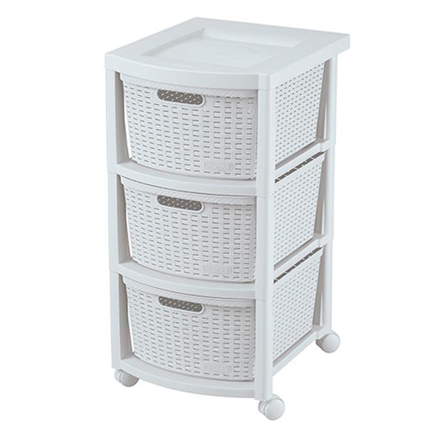 Plastic Wicker 3 Drawer Storage Cart 3L