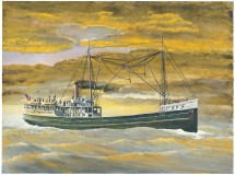John A. Doerner – Wapama. Built at St. Helens, Oregon in 1915, this 951 ton ship is one of a few survivors of the thousands of vessels of her era and is currently in dry dock on a barge anchored in Sausalito Bay.