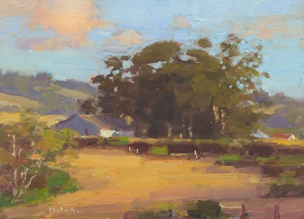 "Jim McVicker, Autumn Gold, oil on panel, 5"" x 7"", 2010."
