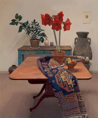 Jim McVicker, Still Life with Red Amaryllis, oil on linen