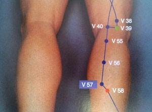 57V - punto de acupuntura útil en el tratamiento de hemorroides. Foto: Atlas gráfico de acupuntura.
