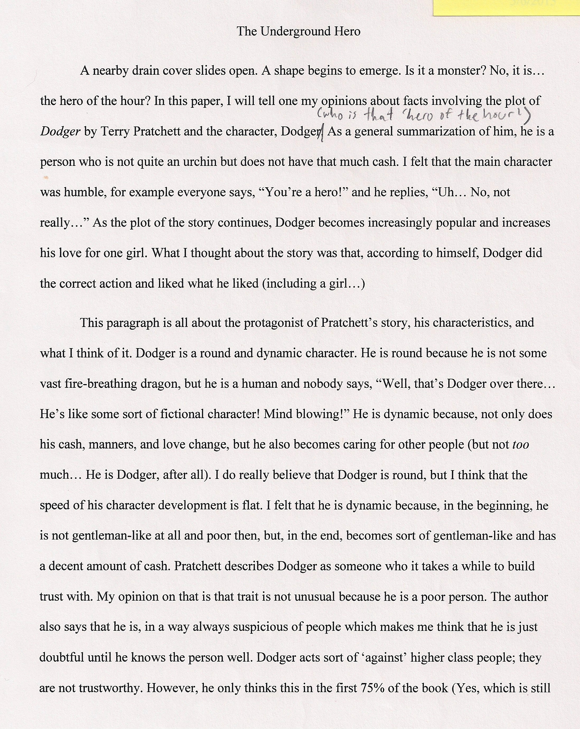 Week 34 The Underground Hero A 6th Grade Essay