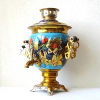 Large Vintage Samovar Russian Khokhloma Tea Pot