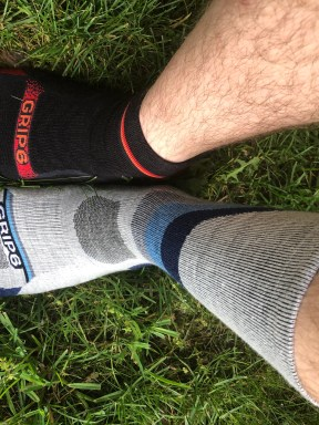 Different Grip6 socks on each foot