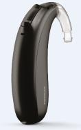 Single black Phonak Naida Marvel hearing aid standing up