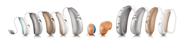 5 RIC hearing aids, 2 ITE hearing aids, 4 BTE hearing aids in the Unitron tempus family