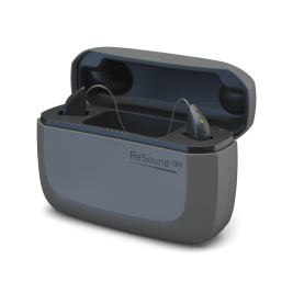 Pair of ReSound ONE hearing aids in black charging case