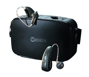Widex Moment hearing aids with charger