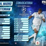 Convocatoria Real Madrid-Tottenham | Jornada 03 UEFA Champions League