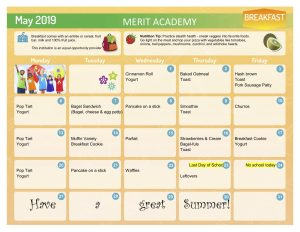 merit academy may breakfast calendar in yellow