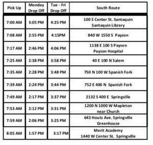 south bus route merit academy