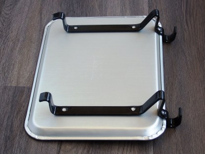 small aluminum car hop tray with rubber coated hangers - bottom view