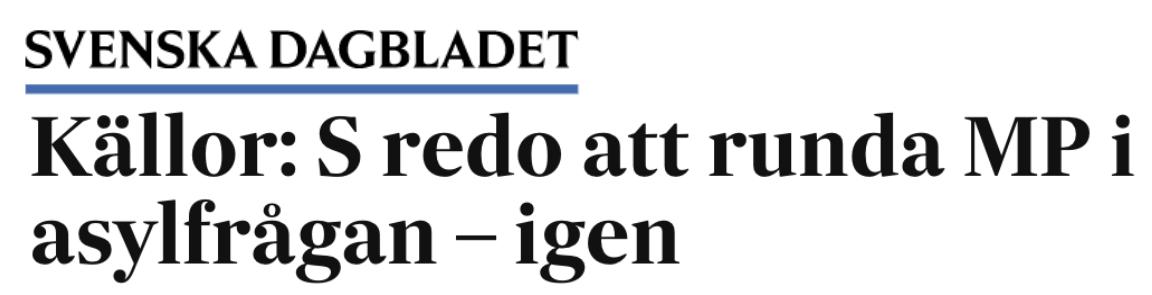 Oklart hur många och vilka som vistas i Sverige illegalt. Och: Håll Miljöpartiet och Centerpartiet borta från asyl- och migrationsområdet!