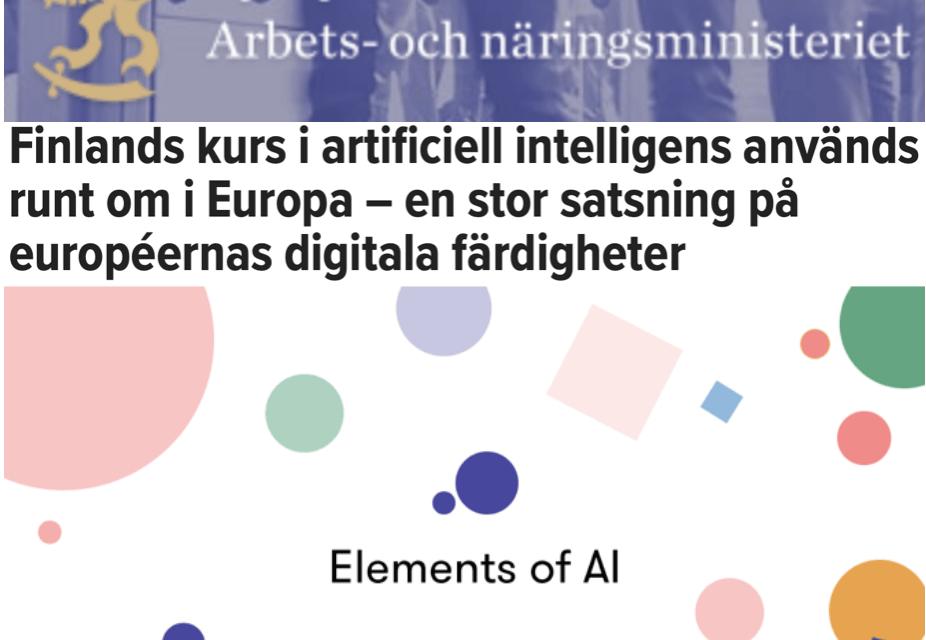 Finland. Kursen, där man lär sig grunderna i AI, artificiell intelligens, erbjuds gratis i 21 EU-länder. Också i Sverige.