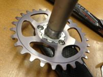 the ring is relieved to the inside to shorten the chainline.