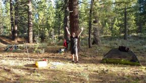 Happy camper and his sweet Big Agnes Seedhouse tent
