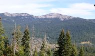 Looking at the backside of Sugar Bowl and down to the Cedars where we're headed.