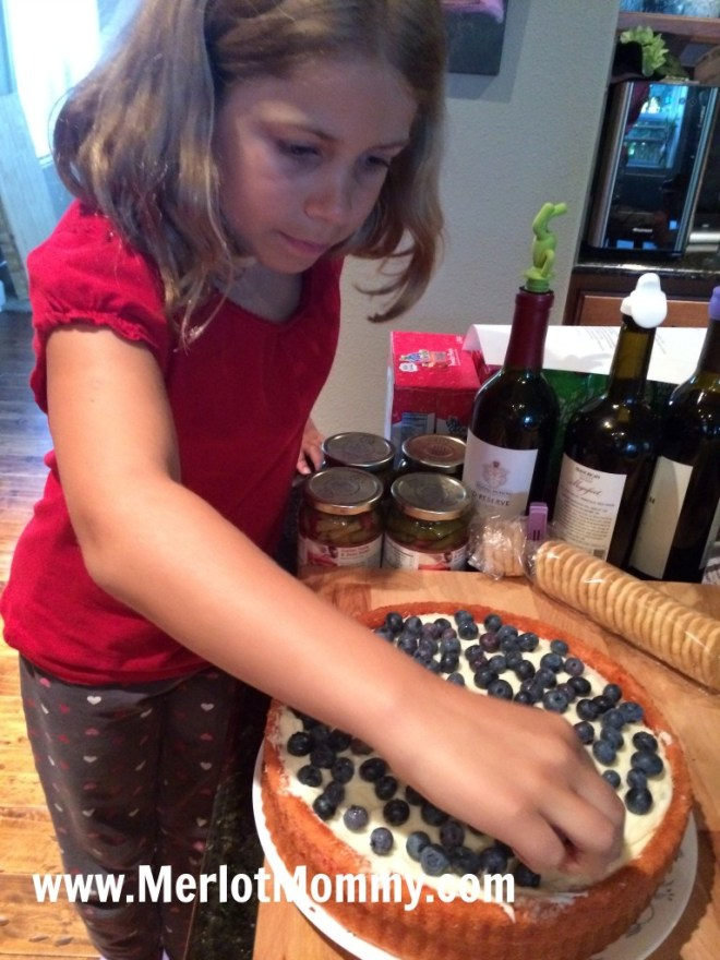 red, white, and blueberry cake